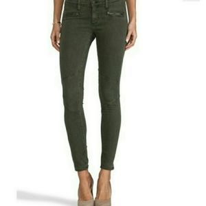 AG Adriano Goldschmeid Olive Moto Skinny Jeans